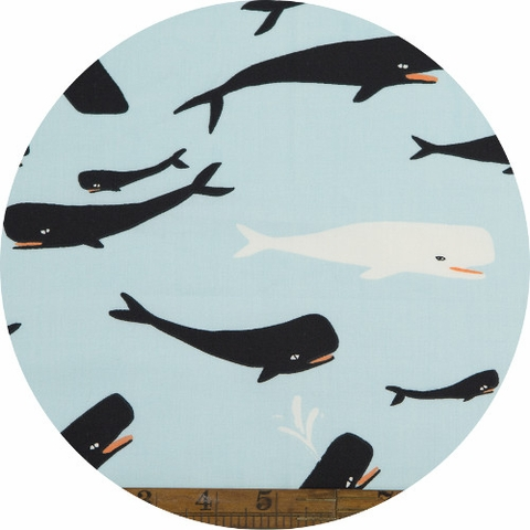 Emily Winfield Martin for Birch Organic Fabrics, Saltwater, Whales Sky