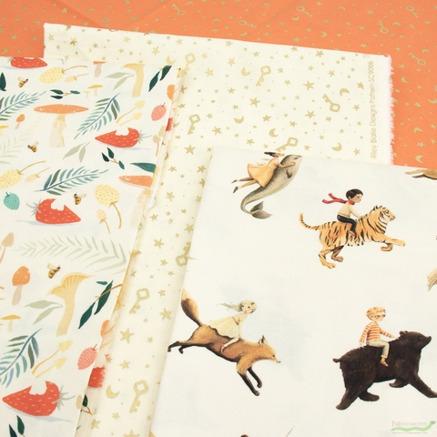 Emily Winfield Martin for Riley Blake, Dream World, Keys and Stars Cream Sparkle