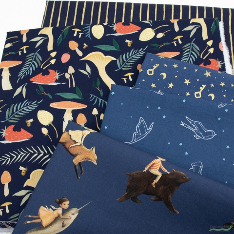 Emily Winfield Martin for Riley Blake, Dream World, Night in FAT QUARTERS 8 Total (PRECUT)