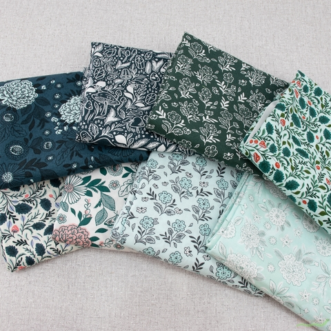 Erin McManness for Cotton + Steel, Earth Magic, Floral Cluster Green Meadows
