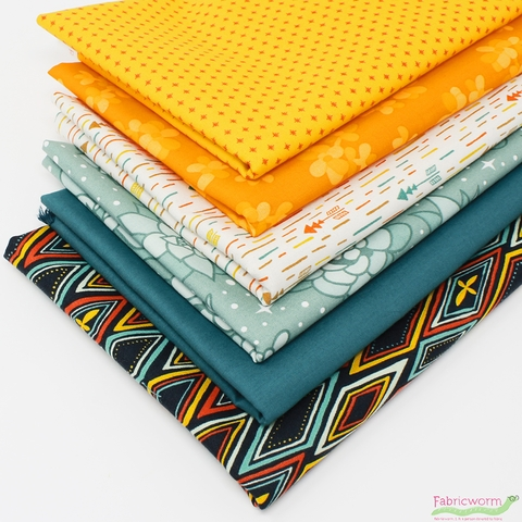 Fabricworm Custom Bundle, Afternoon Oasis in FAT QUARTERS 6 Total (PRECUT)