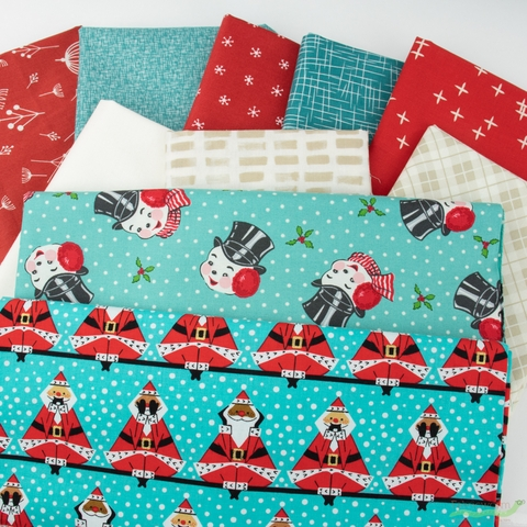 Fabricworm Custom Bundle, Blue Christmas in FAT QUARTERS 10 Total