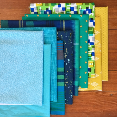 Fabricworm Custom Bundle, Blue Mod Mountains in FAT QUARTERS 10 Total