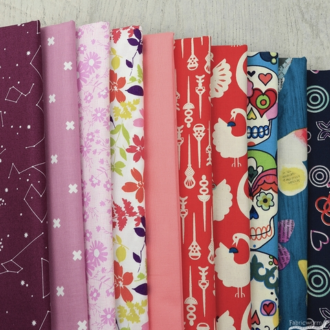 Fabricworm Custom Bundle, Calaveras Pop in HALF YARDS 10 Total