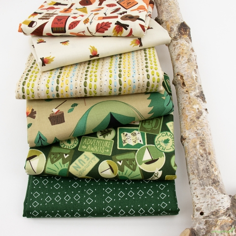 Fabricworm Custom Bundle, Camp Green in HALF YARDS 6 Total
