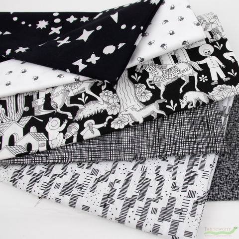 Fabricworm Custom Bundle, Chroma Black & White in HALF YARDS 6 Total