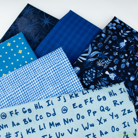 Fabricworm Custom Bundle, Chroma Blue in FAT QUARTERS 6 Total