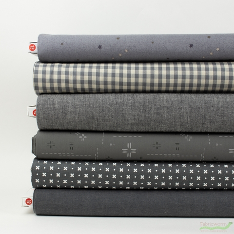 Fabricworm Custom Bundle, Chroma Charcoal in HALF YARDS 6 Total