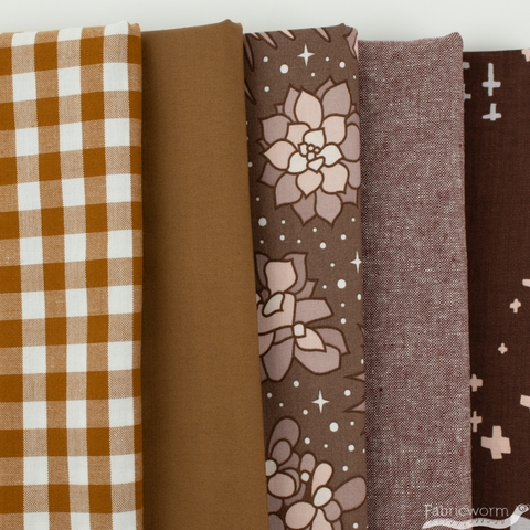 Fabricworm Custom Bundle, Chroma Chestnut in HALF YARDS 5 Total