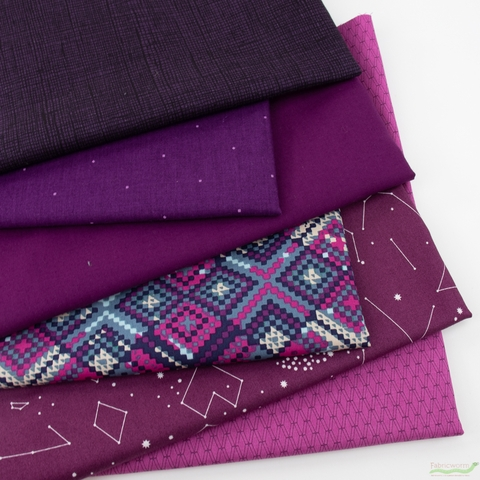 Fabricworm Custom Bundle, Chroma Grape in HALF YARDS 6 Total
