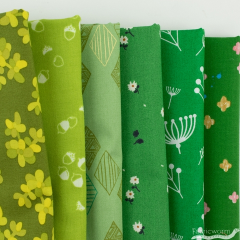 Fabricworm Custom Bundle, Chroma Green in FAT QUARTERS 6 Total