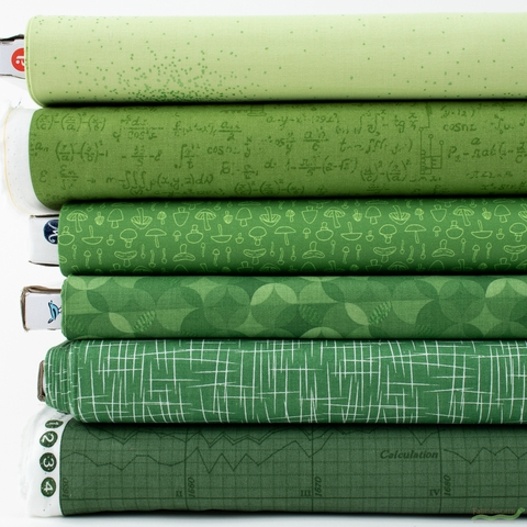 Fabricworm Custom Bundle, Chroma Green in HALF YARDS 6 Total