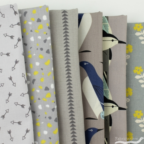 Fabricworm Custom Bundle, Chroma Grey in FAT QUARTERS 6 Total (PRECUT)