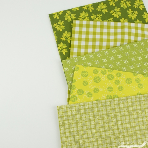 Fabricworm Custom Bundle, Chroma Lime in HALF YARDS 5 Total