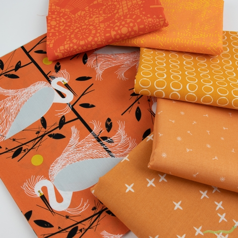 Fabricworm Custom Bundle, Chroma Orange in FAT QUARTERS 6 Total