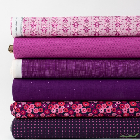 Fabricworm Custom Bundle, Chroma Plum in HALF YARDS 6 Total