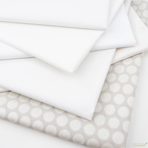 Fabricworm Custom Bundle, Chroma White in HALF YARDS 6 Total