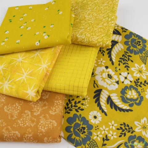 Fabricworm Custom Bundle, Chroma Yellow in HALF YARDS 6 Total