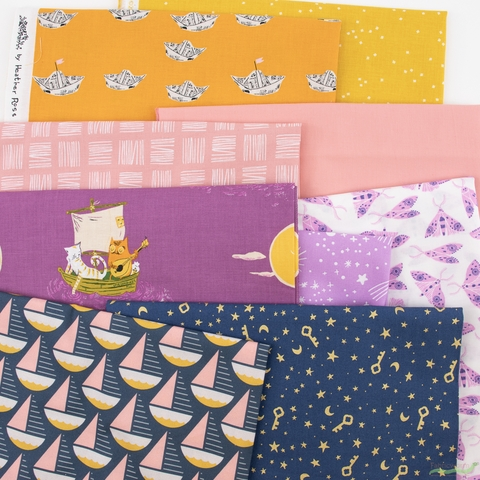 Fabricworm Custom Bundle, Drifting Dreams in  Pre-cut FAT QUARTERS 9 Total (PRECUT)
