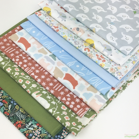 Fabricworm Custom Bundle, Elephant Wish in HALF YARDS 10 Total