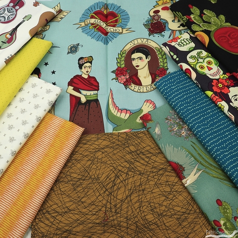 Fabricworm Custom Bundle, Frida Folkart in FAT QUARTERS 10 Total (PRECUT)