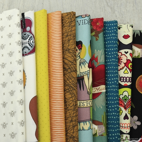 Fabricworm Custom Bundle, Frida Folkart in HALF YARDS 10 Total