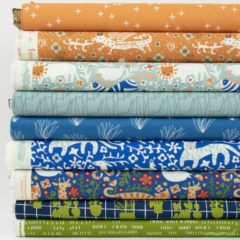 Fabricworm Custom Bundle, Garden Gathering in FAT QUARTERS 9 Total (PRECUT)