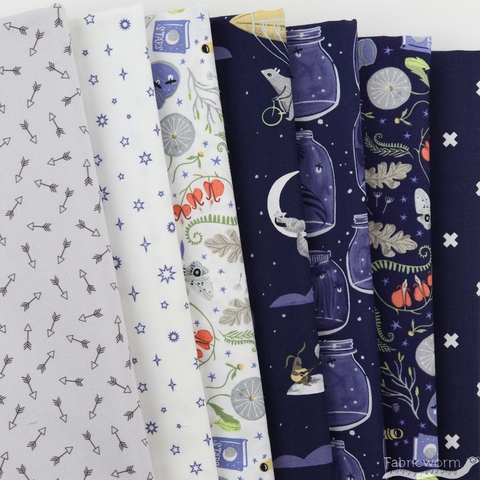 Fabricworm Custom Bundle, Gentle Forest in HALF YARDS 7 Total