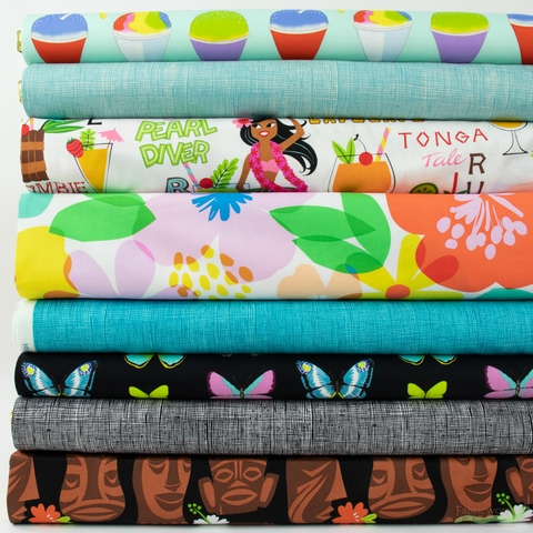 Fabricworm Custom Bundle, Happy Hour Luau in HALF YARDS 8 Total