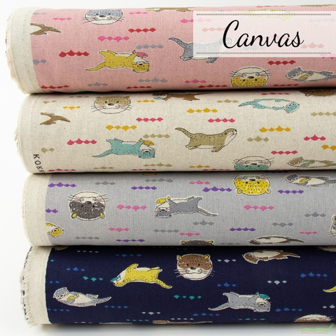 Fabricworm Custom Bundle, Japanese Import, Canvas, Hungry Otter in HALF YARDS 4 Total