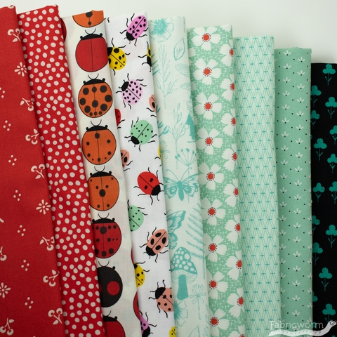 Fabricworm Custom Bundle,  Luck be a Ladybug in  FAT QUARTERS 9 Total (PRECUT)