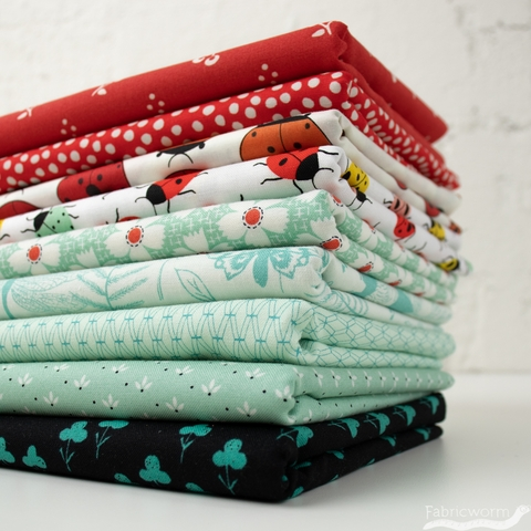 Fabricworm Custom Bundle,  Luck be a Ladybug in  FAT QUARTERS 9 Total