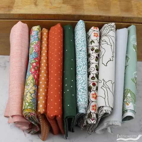 Fabricworm Custom Bundle, Mint Julep in FAT QUARTERS 10 Total