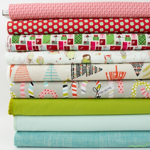 Fabricworm Custom Bundle, Minty Holiday in FAT QUARTERS 9 Total