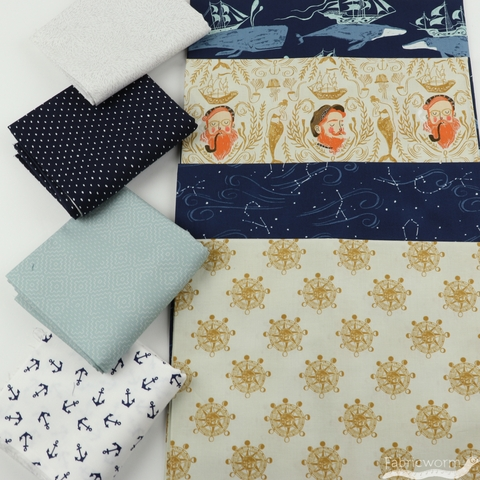 Fabricworm Custom Bundle, Sailing the Stars in HALF YARDS 8 Total
