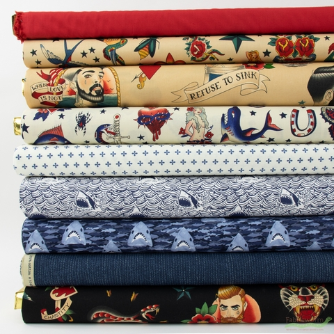 Fabricworm Custom Bundle, Smooth Sailors in FAT QUARTERS 9 Total