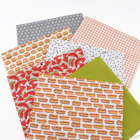 Fabricworm Custom Bundle, Summer Cookout in HALF YARDS 7 Total