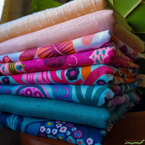 Fabricworm Custom Bundle, Teal Me About It in FAT QUARTERS 8 Total (PRECUT)