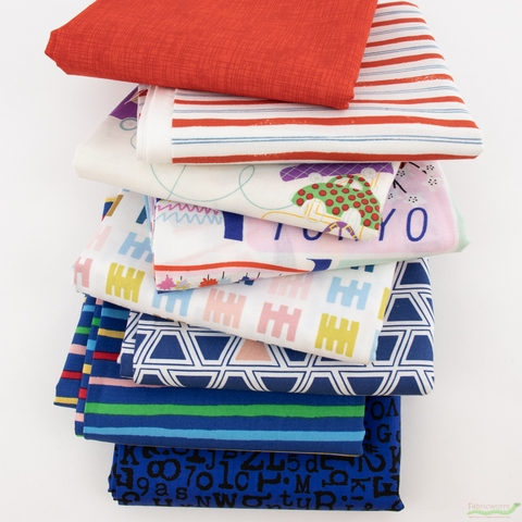 Fabricworm Custom Bundle, World Travel in HALF YARDS 8 Total