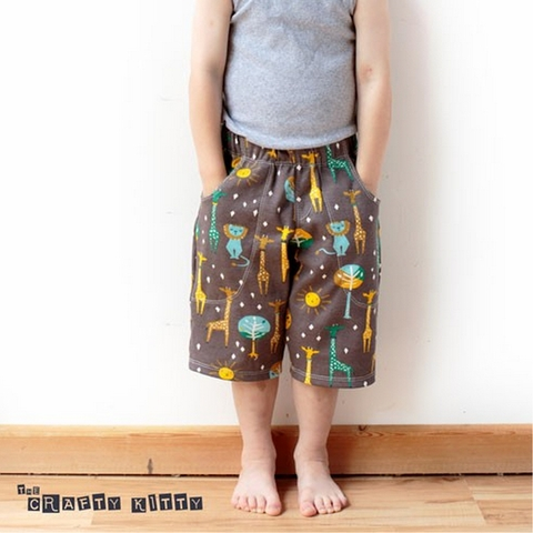 Sewing Tutorial & Free Pattern | Kid's Knit Shorts by The Crafty Kitty