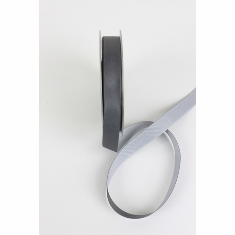 "Frou-Frou, 5/8"" Two Sided Gros-Grain Ribbon, Graphite/Silver"