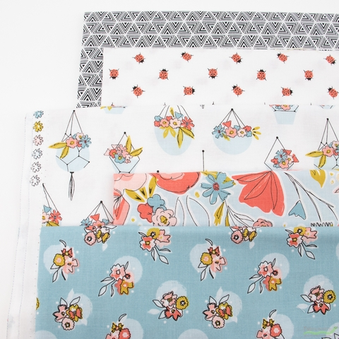 Gabrielle Neil Design Studio for Riley Blake, Petals and Pots, Blue in HALF YARDS 5 Total