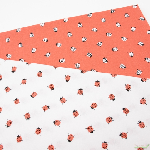 Gabrielle Neil Design Studio for Riley Blake, Petals and Pots, Ladybugs Coral