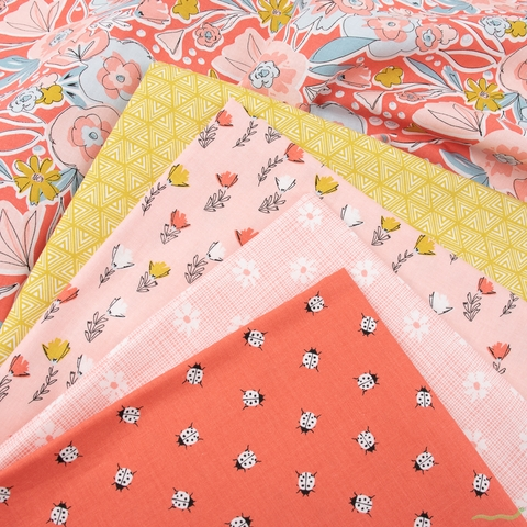 Gabrielle Neil Design Studio for Riley Blake, Petals and Pots, Pink in FAT QUARTERS 5 Total