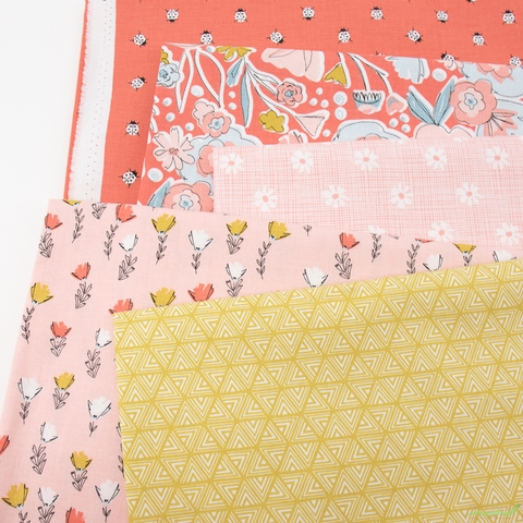 Gabrielle Neil Design Studio for Riley Blake, Petals and Pots, Pink in HALF YARDS 5 Total