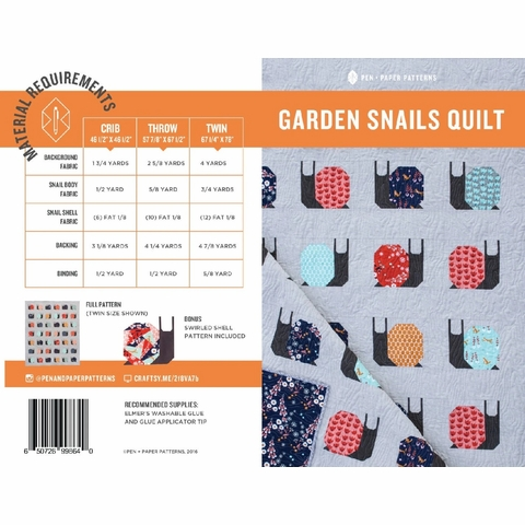 Garden Snails Quilt Kit by Pen + Paper Patterns Featuring Birch Organic Bella Lawn