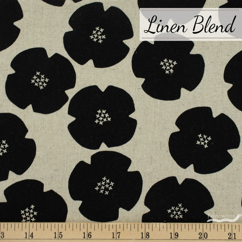 Ghazal Razavi for FIGO, Harmony Linen Blend, Flowers Black