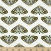 Gingiber for Moda, Dwell in Possibility, Dainty Moths Ivory Sky Metallic