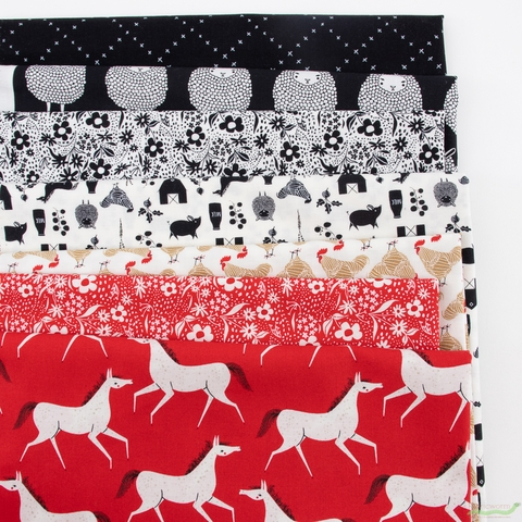 Gingiber for Moda, Farm Charm, Rooster Red in HALF YARDS 7 Total