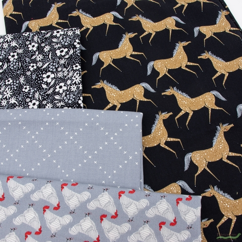 Gingiber for Moda, Farm Charm, Steel in FAT QUARTERS 7 Total